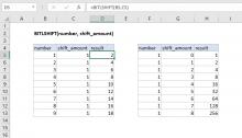 Excel BITLSHIFT function