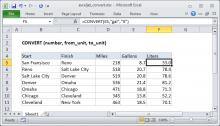 Excel CONVERT function