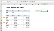 Excel DCOUNT function