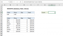 Excel DCOUNTA function