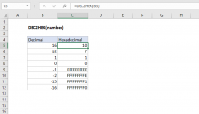 Excel DEC2HEX function