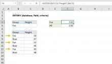 Excel DSTDEV function