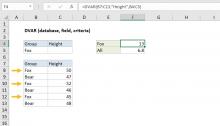 Excel DVAR function