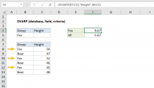 Excel DVARP function