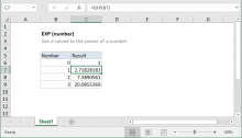 Excel EXP function