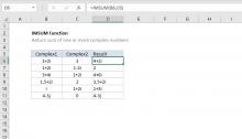 Excel IMSUM function