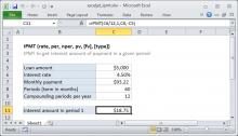Excel IPMT function