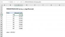 Excel PERCENTRANK.EXC function