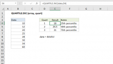Excel QUARTILE.EXC function