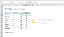 Excel RANK.EQ function