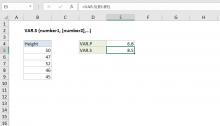 Excel VAR.S function