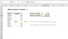 Excel VARA function