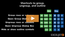 Excel Shortcut: Open Group Dialog Box | Exceljet