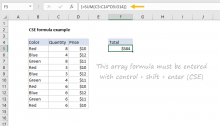 Example of CSE array formula in Excel