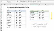 Example of dynamic array function in Excel