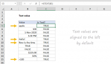 Text values in Excel