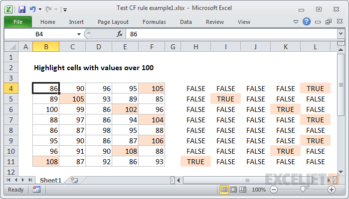 Dummy formulas show TRUE where formatting will be applied
