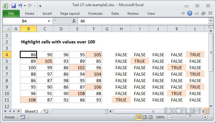 Dummy formulas show TRUE where formatting will be applied