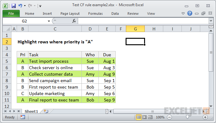 Final format - rows highlighted, dummy formulas removed
