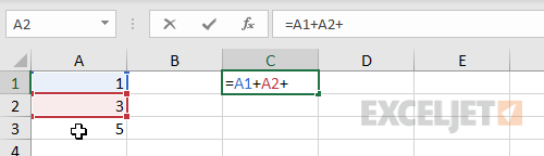Entering a formula with point and click references