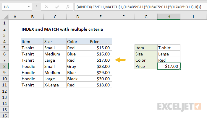 INDEX and MATCH with multiple criteria