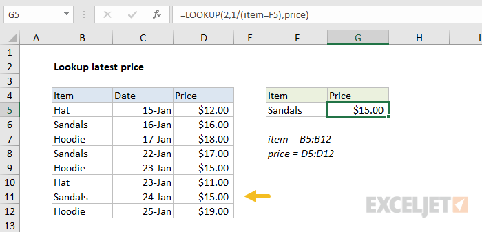 LOOKUP function to find last match with unsorted data
