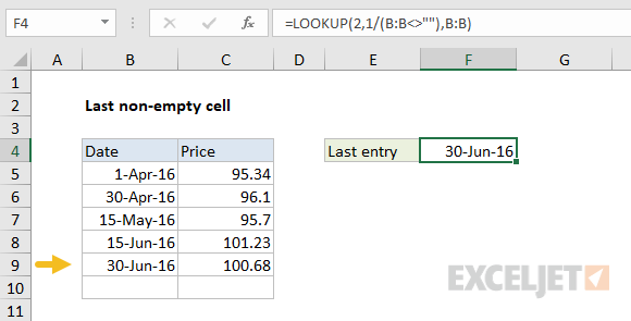 Using LOOKUP to find the last non-blank cell