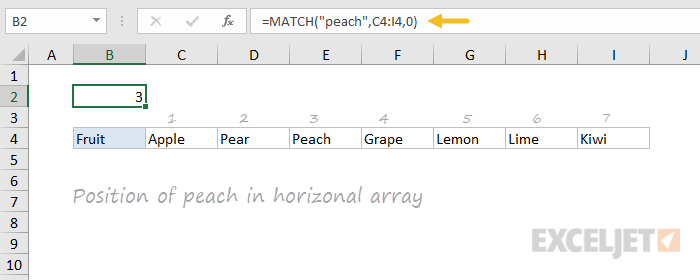 Using MATCH to find position in a horizontal range