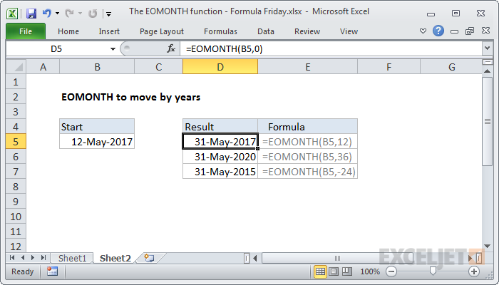 EOMONTH function example moving by years