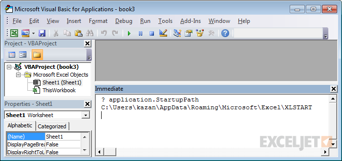 Use the VBA immediate window to confirm startup path