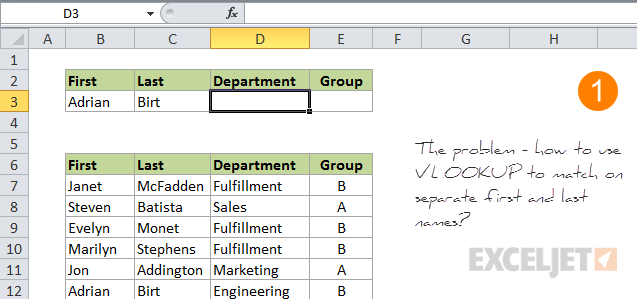 VLOOKUP multiple criteria problem - how to lookup on both first and last name?