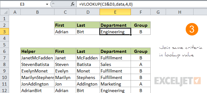 VLOOKUP multiple criteria step 3 - join criteria to form lookup value