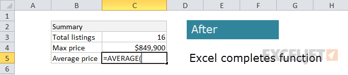 Excel auto-completes function