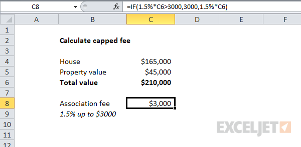 Using the IF function to calculate a capped fee