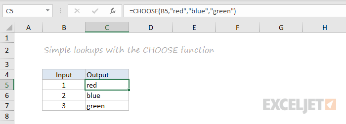 CHOOSE function example