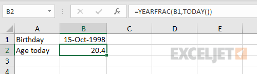 YEARFRAC and TODAY functions to calculate current age