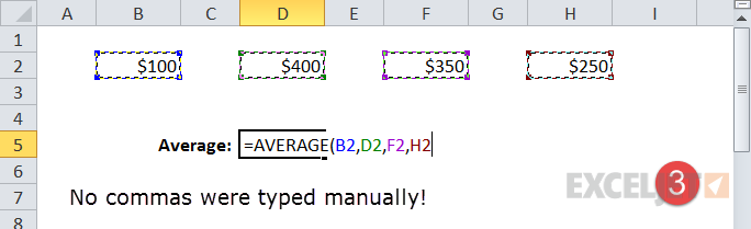 All commas were entered by Excel