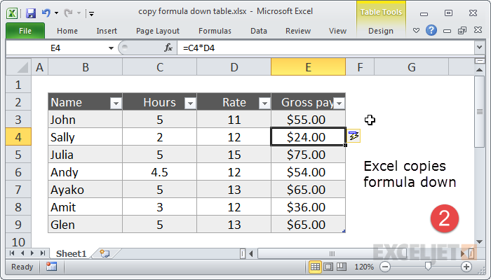 Press enter to copy formula down