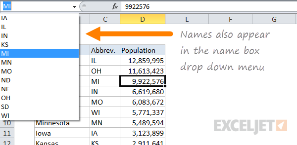 20 Tips For Named Ranges In Excel Exceljet. New Names Also Appear In The Name Box Drop Down Menu. Worksheet. Make Worksheet Name Equal Cell Value At Clickcart.co