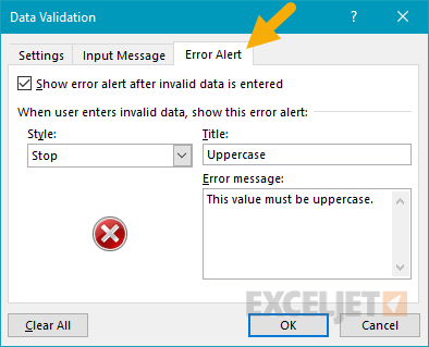 Data validation error alert tab