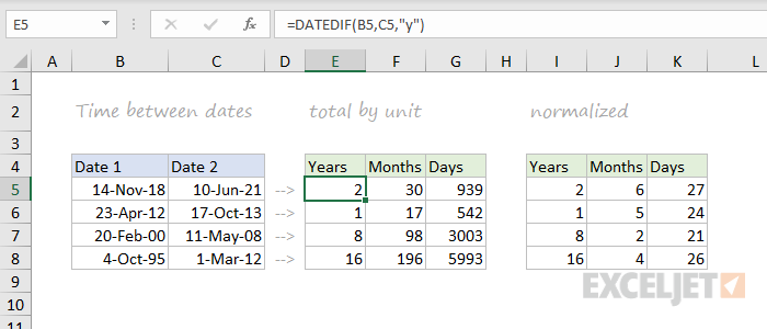 DATEDIF function example