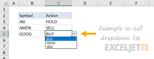 Data validation dropdown menu hardcoded values in use