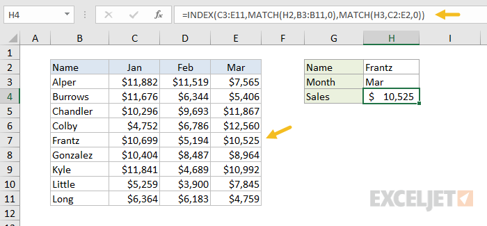 Dynamic lookup with INDEX and MATCH