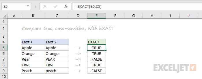 EXACT function example