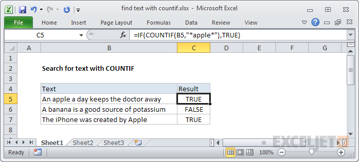 Finding text with COUNTIF plus IF