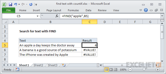 Finding text with the FIND function