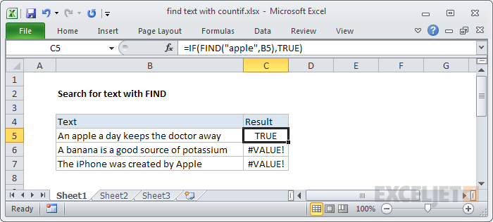Finding text with the FIND function with IF function