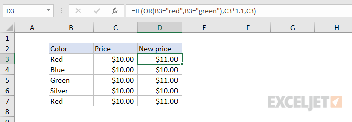 Formula criteria example #2 - increase price if red or green