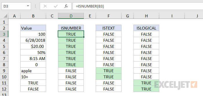 Formula criteria - using functions to test data types