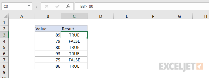 Formula criteria - testing directly on worksheet